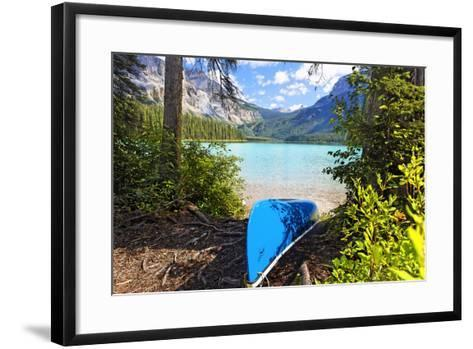 Boat on the Shore, Emerald Lake, Canada-George Oze-Framed Art Print