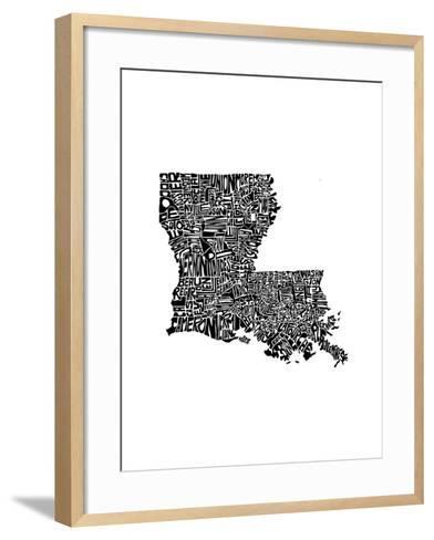 Typographic Louisiana-CAPow-Framed Art Print