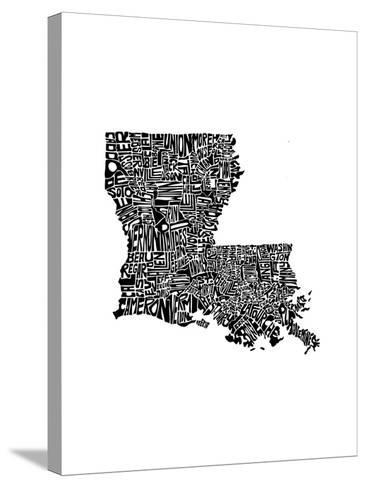 Typographic Louisiana-CAPow-Stretched Canvas Print