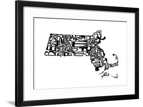 Typographic Massachusetts-CAPow-Framed Art Print