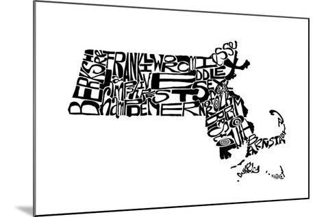 Typographic Massachusetts-CAPow-Mounted Art Print