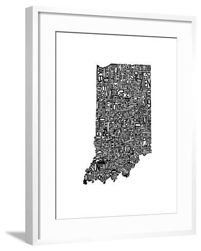 Typographic Indiana-CAPow-Framed Art Print