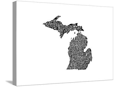 Typographic Michigan-CAPow-Stretched Canvas Print