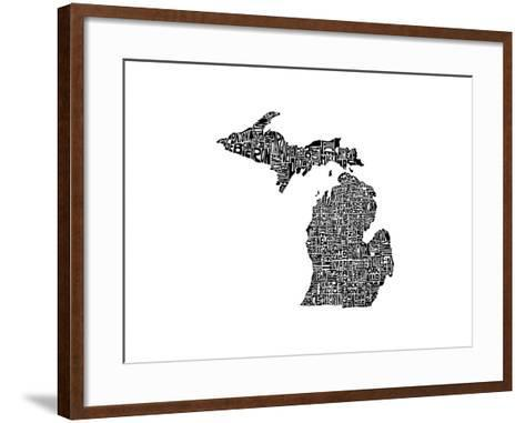Typographic Michigan-CAPow-Framed Art Print
