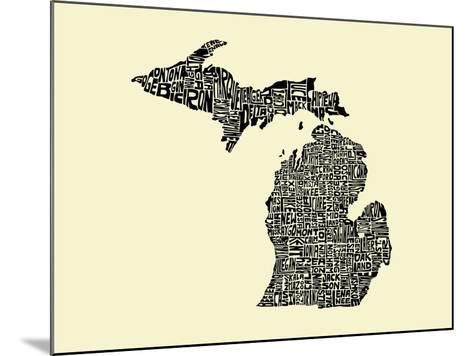Typographic Michigan Beige Background-CAPow-Mounted Art Print