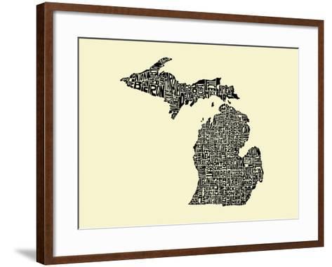 Typographic Michigan Beige Background-CAPow-Framed Art Print