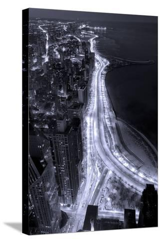 Lake Shore Drive Aerial Black White-Steve Gadomski-Stretched Canvas Print