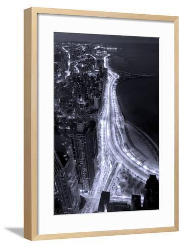 Lake Shore Drive Aerial Black White-Steve Gadomski-Framed Art Print