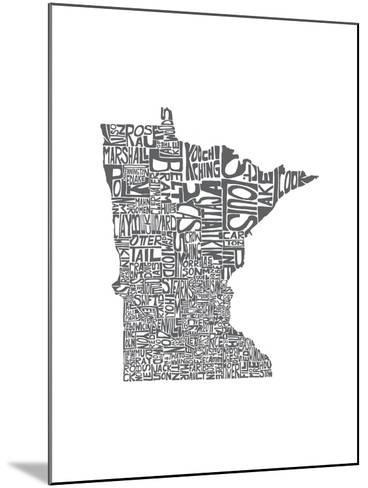 Typographic Minnesota Charcoal-CAPow-Mounted Art Print