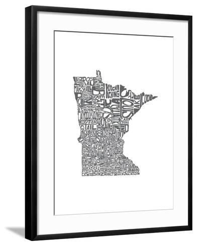 Typographic Minnesota Charcoal-CAPow-Framed Art Print