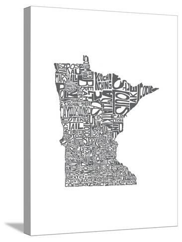 Typographic Minnesota Charcoal-CAPow-Stretched Canvas Print
