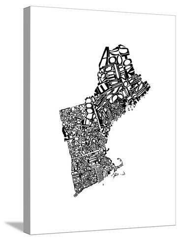 Typographic New England-CAPow-Stretched Canvas Print