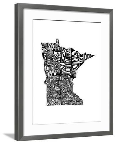 Typographic Minnesota-CAPow-Framed Art Print
