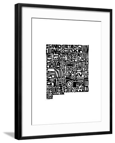 Typographic New Mexico-CAPow-Framed Art Print