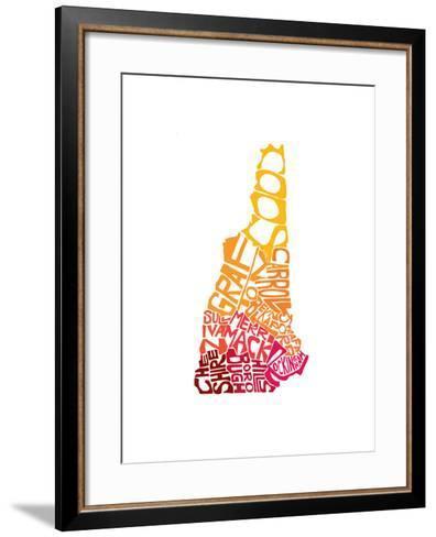 Typographic New Hampshire warm-CAPow-Framed Art Print