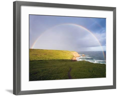 Rainbow Over Chimney Rock, California-George Oze-Framed Art Print