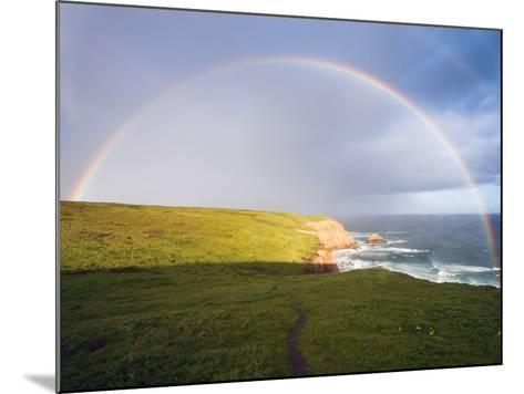 Rainbow Over Chimney Rock, California-George Oze-Mounted Photographic Print