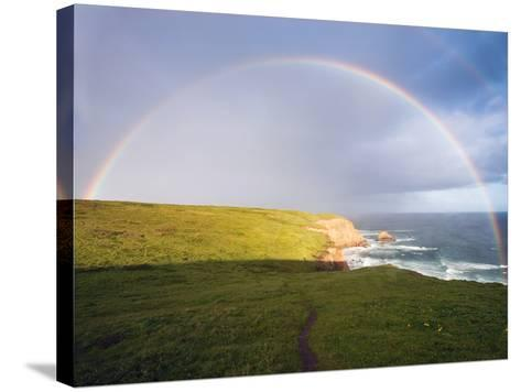 Rainbow Over Chimney Rock, California-George Oze-Stretched Canvas Print