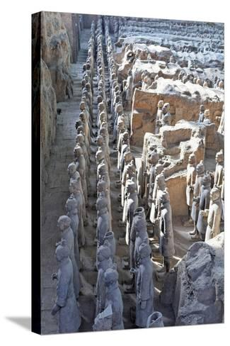 Vanguard Line of Terracotta Warriors, China-George Oze-Stretched Canvas Print