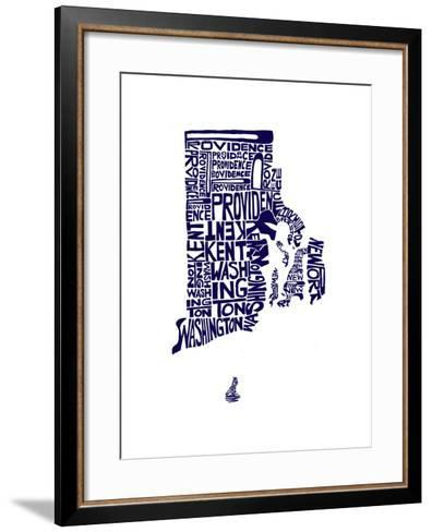 Typographic Rhode Island Navy-CAPow-Framed Art Print