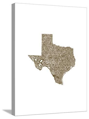 Typographic Texas Brown-CAPow-Stretched Canvas Print