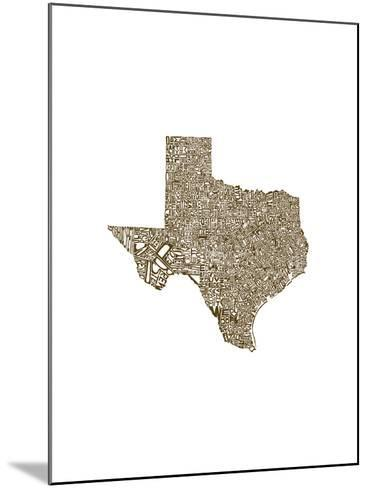 Typographic Texas Brown-CAPow-Mounted Art Print