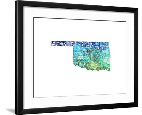 Typographic Oklahoma Cool-CAPow-Framed Art Print