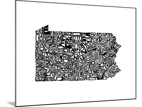 Typographic Pennsylvania-CAPow-Mounted Art Print