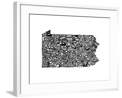 Typographic Pennsylvania-CAPow-Framed Art Print