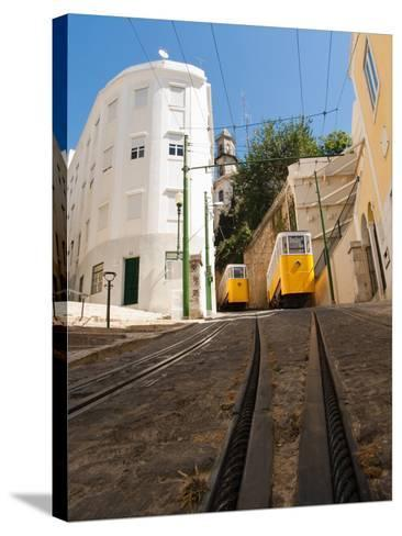 Elevator Cable Cars of Lisbon-George Oze-Stretched Canvas Print