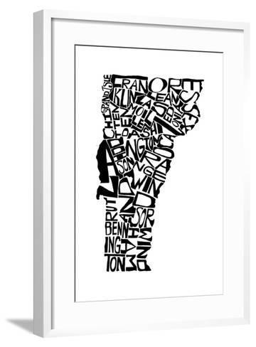 Typographic Vermont-CAPow-Framed Art Print