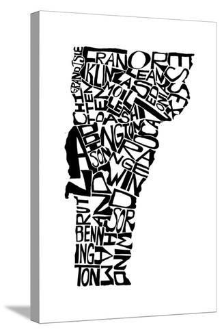 Typographic Vermont-CAPow-Stretched Canvas Print