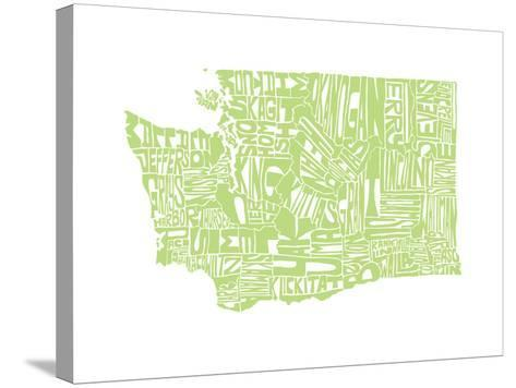 Typographic Washington Green-CAPow-Stretched Canvas Print