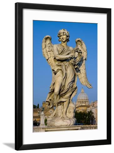 Angel Statue Rome-Charles Bowman-Framed Art Print