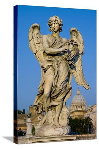 Angel Statue Rome-Charles Bowman-Stretched Canvas Print