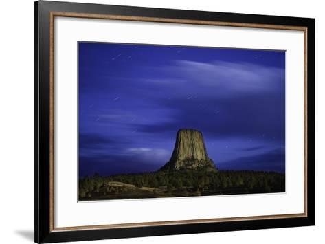 Devils Tower Sunset & Star Trails-Steve Gadomski-Framed Art Print