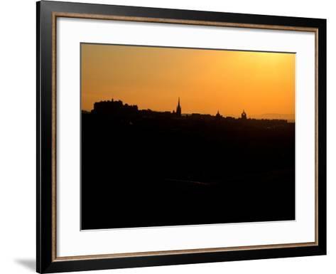 Edinburgh castle and city skyline at sunset, Scotland-AdventureArt-Framed Art Print