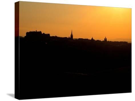 Edinburgh castle and city skyline at sunset, Scotland-AdventureArt-Stretched Canvas Print