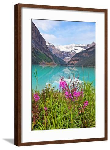 Fireweed at Lakeside, Lake Louise, Canada-George Oze-Framed Art Print