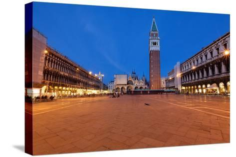 St Marks Square at Night, Venice, Italy-George Oze-Stretched Canvas Print