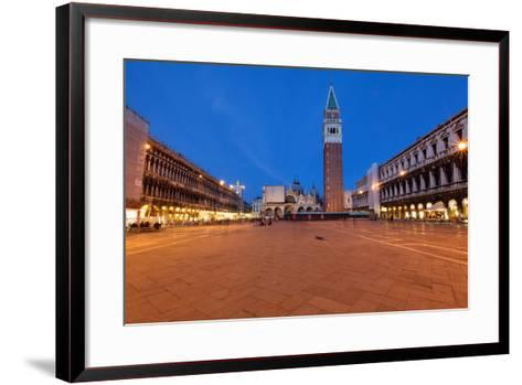 St Marks Square at Night, Venice, Italy-George Oze-Framed Art Print