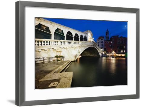 Rialto Bridge At Night, Venice, Italy-George Oze-Framed Art Print