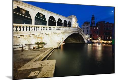 Rialto Bridge At Night, Venice, Italy-George Oze-Mounted Photographic Print