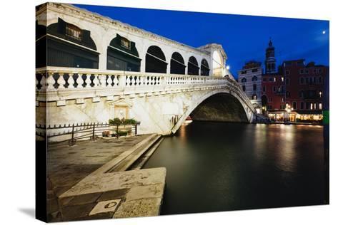 Rialto Bridge At Night, Venice, Italy-George Oze-Stretched Canvas Print