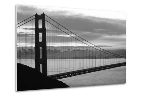 Silhouette of a suspension bridge at dusk, Golden Gate Bridge, San Francisco, California, USA--Metal Print