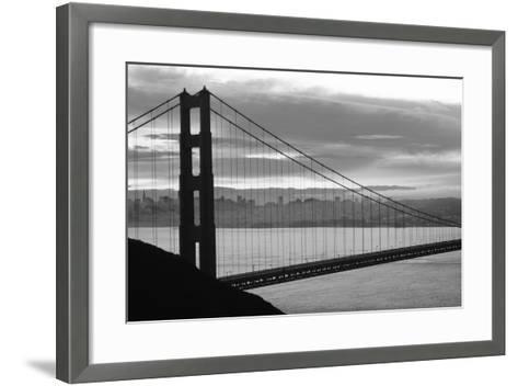 Silhouette of a suspension bridge at dusk, Golden Gate Bridge, San Francisco, California, USA--Framed Art Print