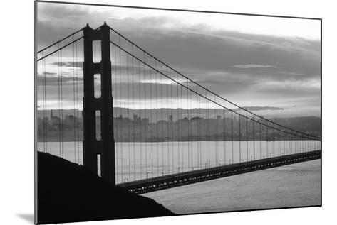 Silhouette of a suspension bridge at dusk, Golden Gate Bridge, San Francisco, California, USA--Mounted Photographic Print