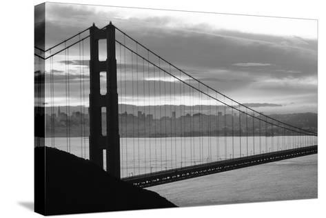 Silhouette of a suspension bridge at dusk, Golden Gate Bridge, San Francisco, California, USA--Stretched Canvas Print