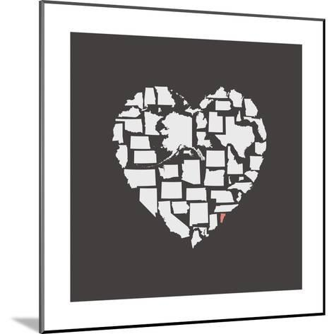Black USA Heart Graphic Print Featuring Vermont-Kindred Sol Collective-Mounted Art Print