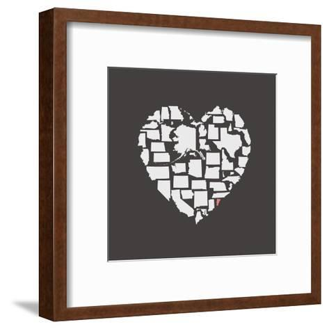 Black USA Heart Graphic Print Featuring Vermont-Kindred Sol Collective-Framed Art Print